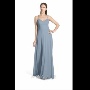 Azazie Kelis Bridesmaid Dress Dusty Blue -Size A12